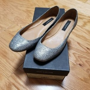 Ann Taylor Silver Shimmer Flats size 5
